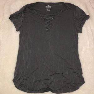 Gray Lace Up Front Detail Tee